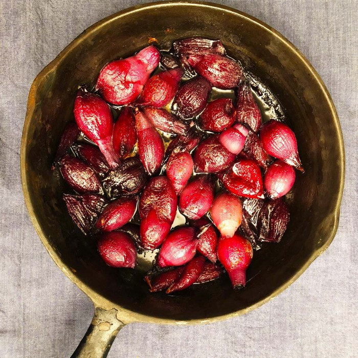 Sweet and Spicy Pearl Onions in a frying pan
