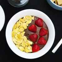 Chocolate Cardamom Pudding with Almond Maple Crunch and Strawberries