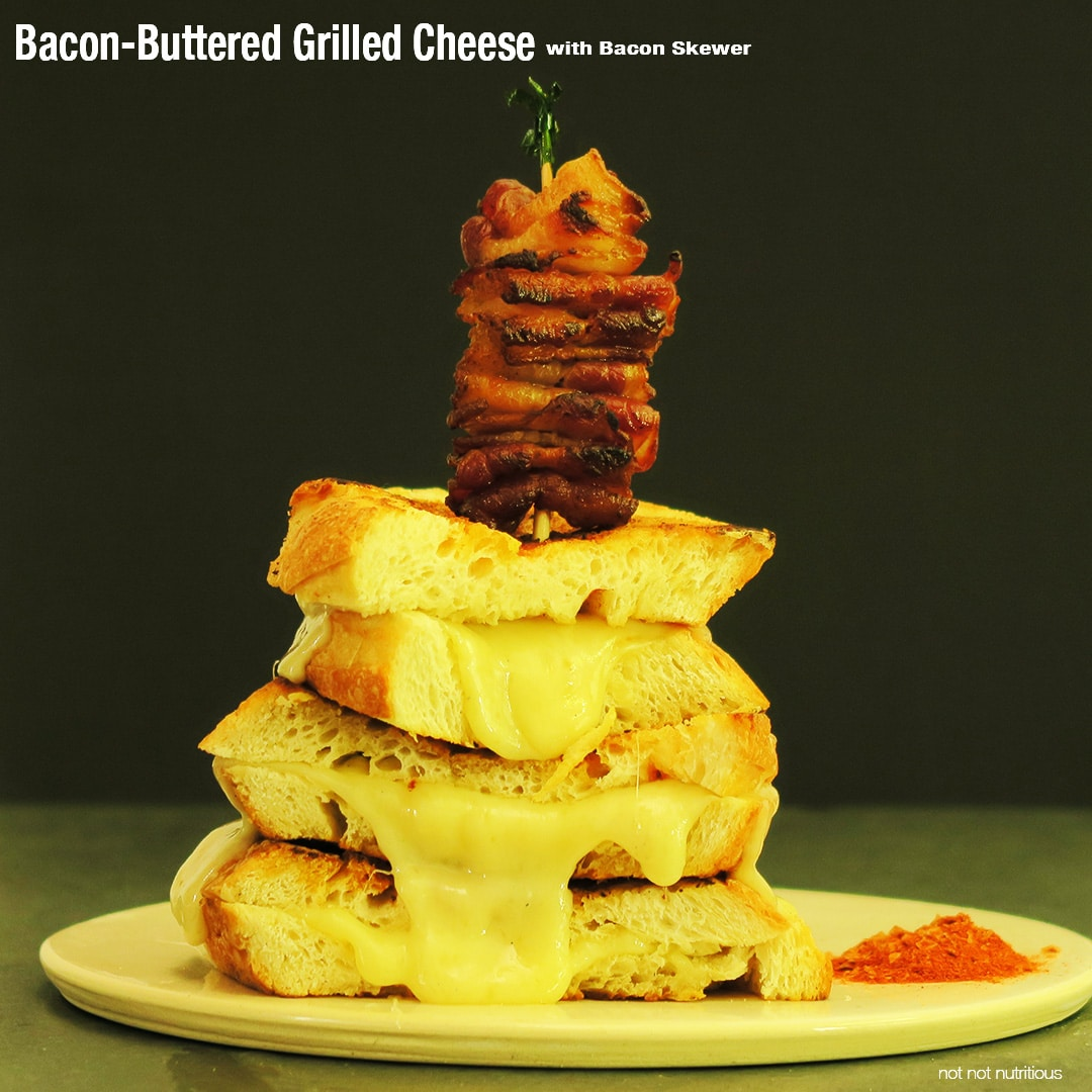 Bacon-Buttered Grilled Cheese with Bacon Skewer