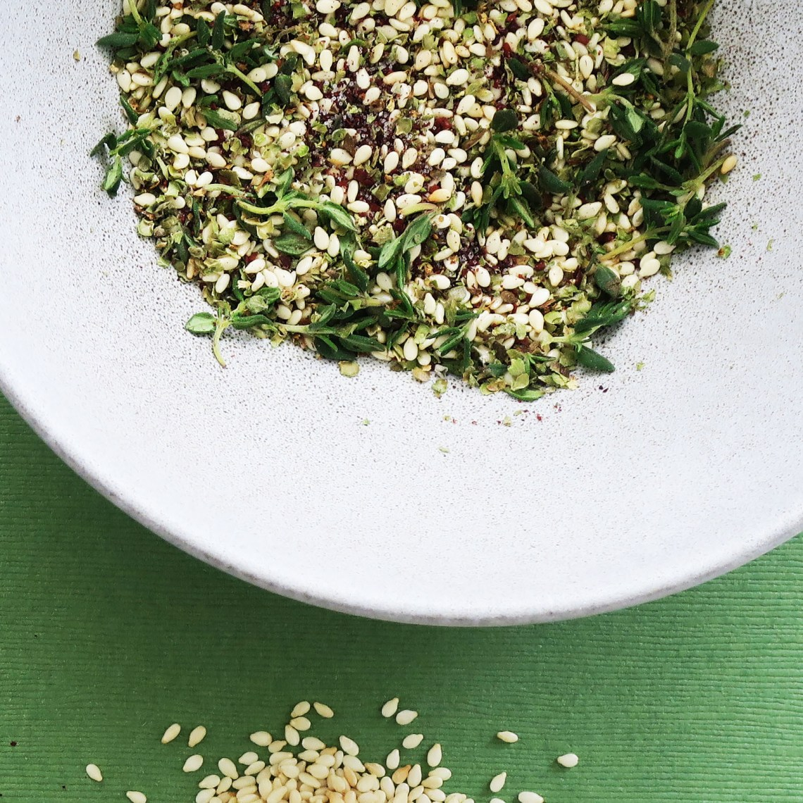 Zatar. A Middle Eastern spice blend with thyme, marjoram, sumac, salt and sesame seeds.