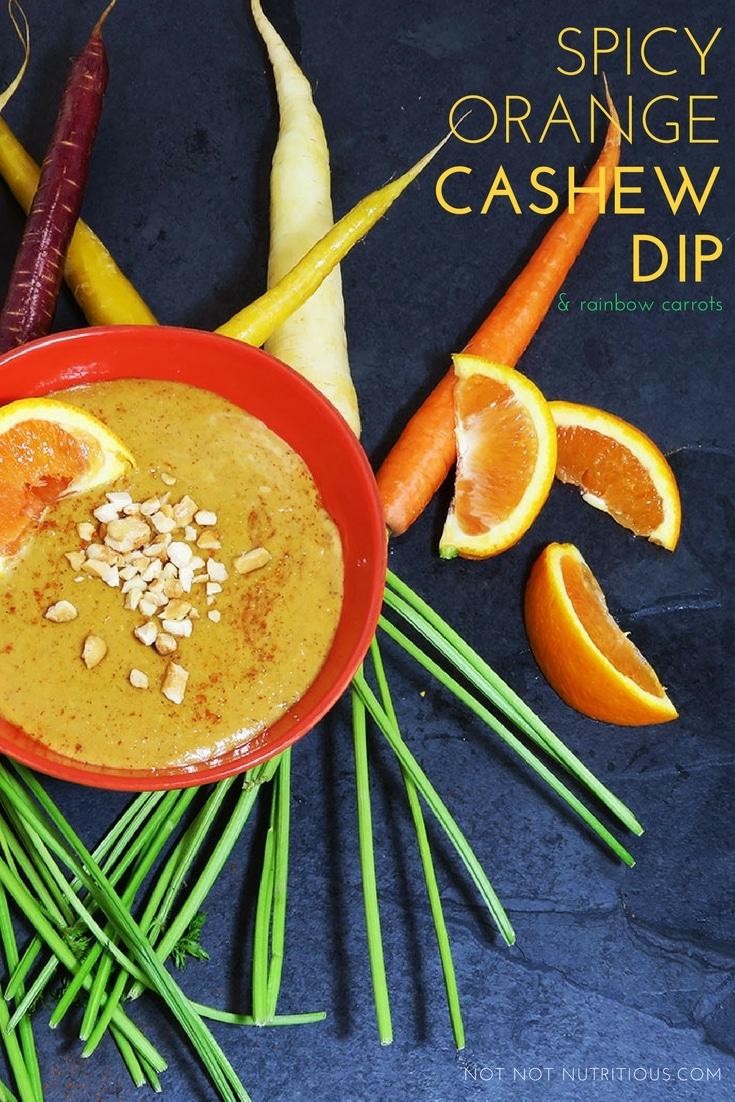 Spicy Orange Cashew Dip with Rainbow Carrots