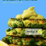 Side view of Zucchini and Green Pea fritters with Avocado Crema on top, agains a bright blue background,