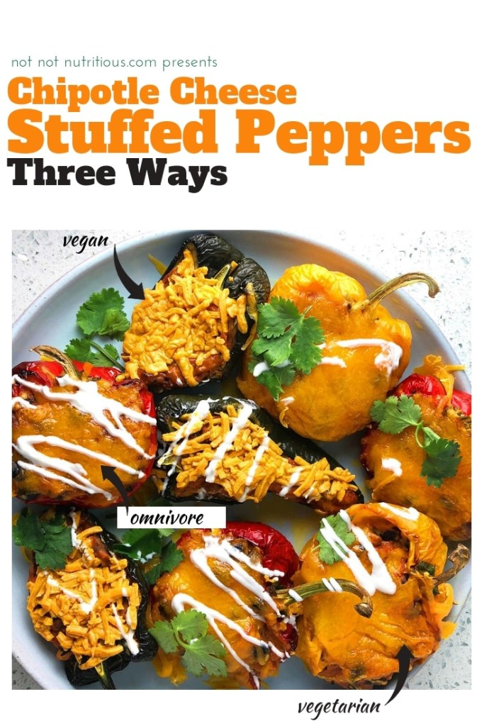 A colourful array of chipotle cheese stuffed peppers, green, yellow, and red, topped with cheese, sour cream, and cilantro. From the recipe: Stuffed Pepper Three Ways - Vegan, Vegetarian, Omnivore