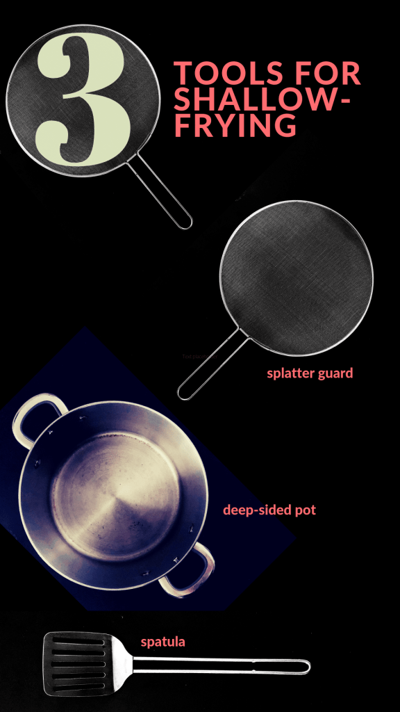 Graphic titled 3 Tools for Shallow-Frying showing a deep-sided pot, a splatter guard, and a metal spatula, all against a black background. For making Salty Crispy Tofu