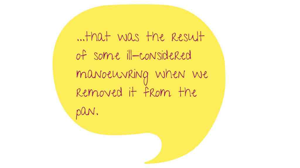 Yellow image of a conversation bubble with text: ...that was the result  of some ill-considered manoeuvring when we removed it from the pan.