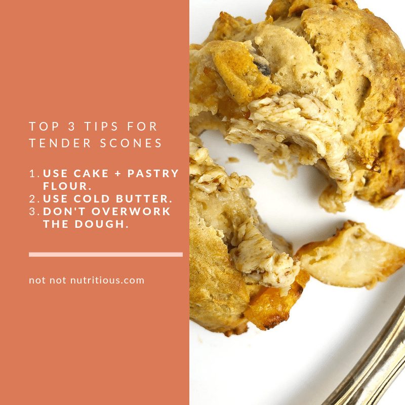 Graphic showing Top 3 Tips for Tender Scones: 1) Use cake and pastry flour 2) Use cold butter 3) Don't overwork the dough.