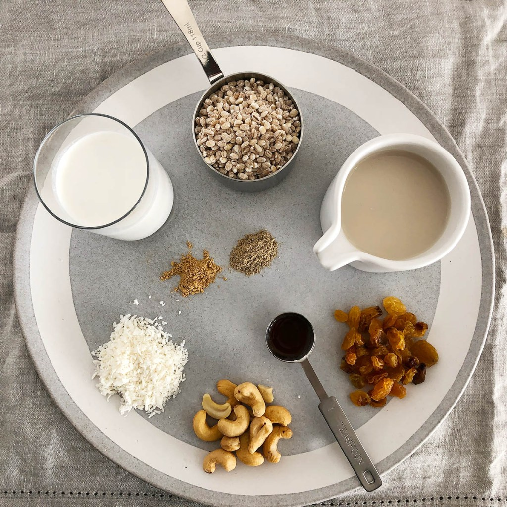 Ingredients for 1-Pot Barley Porridge: a measuring cup with pot barley, a vessel with cashew milk, a pile of raisins, a teaspoon of vanilla, cashews, shredded coconut, coconut milk, ginger, cardamom, all on a grey plate.