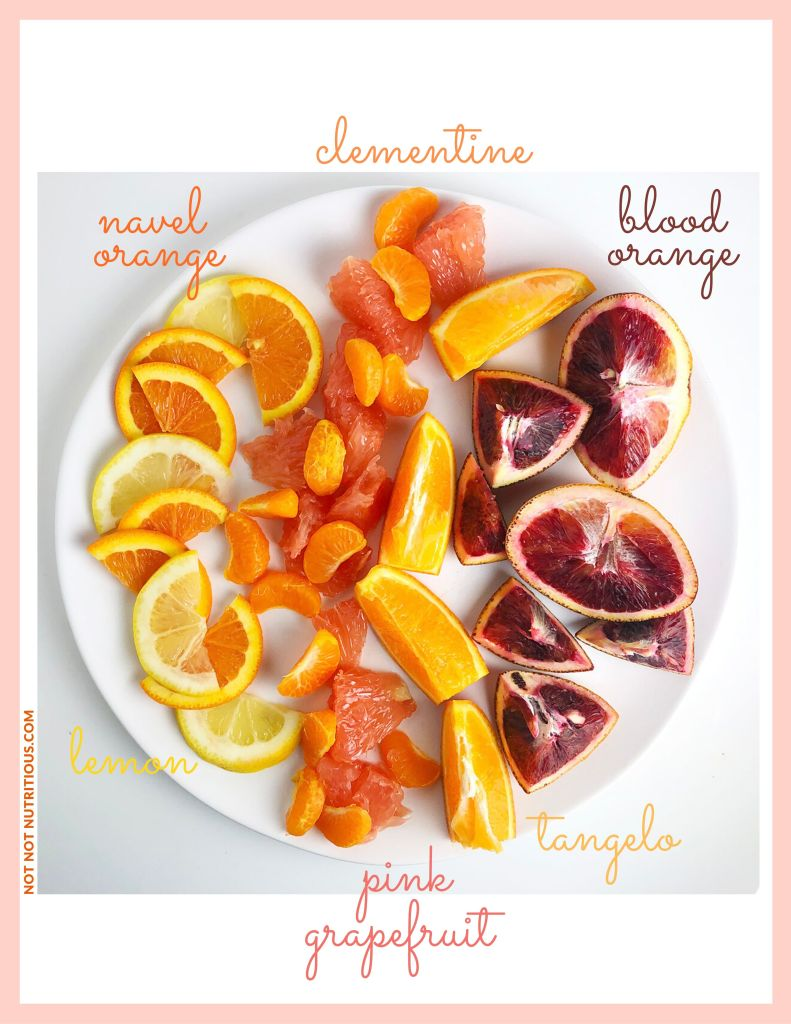 Infographic showing photo of different types of citrus on a white plate; clementine, blood orange, tangelo, pink grapefruit, lemon and navel orange