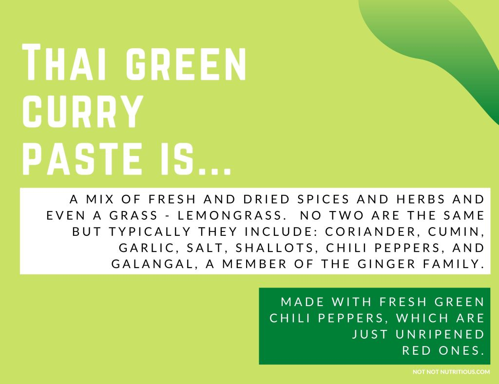 Infographic which reads: Thai Green Curry paste is a mix of fresh and dried spices and herbs and even a grass -- lemongrass. No two are the same but they typically include: coriander, cumin, garlic, salt, shallots, chili peppers, and galangal, a member of the ginger family. They're made with fresh green chili peppers, which are just unripened red ones.