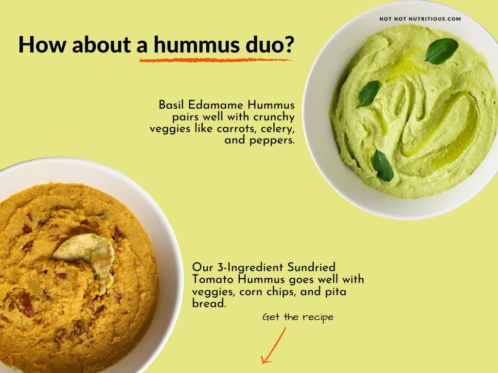 Infographic titled: How about a hummus duo? Text reads: Basil Edamame Hummus pairs well with crunchy veggies like carrots, celery and peppers. Our 3-ingredient Sundried Tomato Hummus goes well with veggies, corn chips, and pita bread.