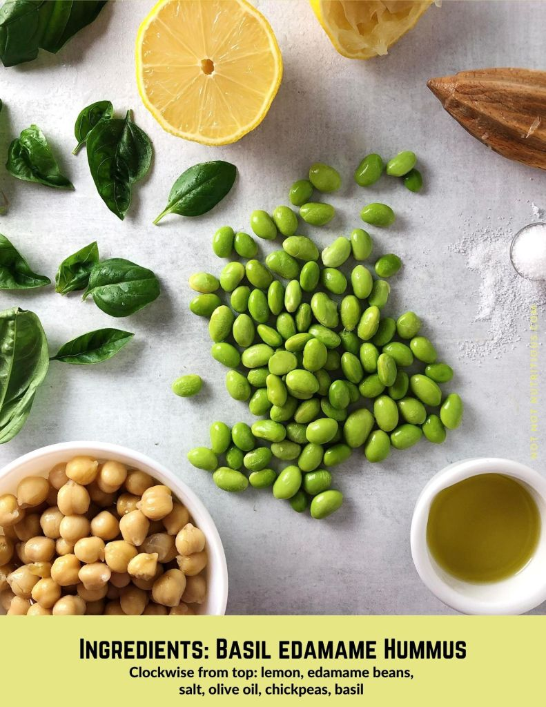 Infographic showing ingredient for Basil Edamame Hummus. Top-down shot of lemon, salt, shelled edamame beans, olive oil, chickpeas, and fresh basil.