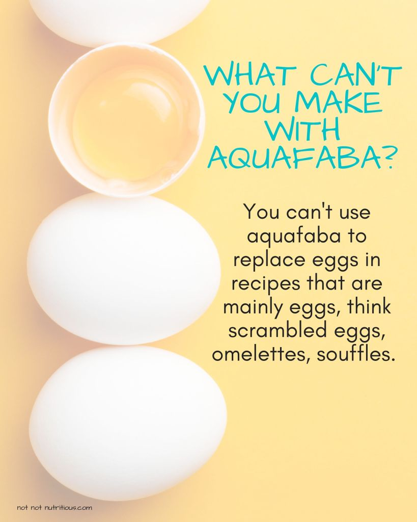 Infographic titled What Can't You Make with Aquafaba. Image shows three whole eggs, with one cracked egg showing the yolk. Text on graphic reads: You can't use aquafaba to replace eggs in recipes that are mainly eggs, think scrambled eggs, omelettes, and souffles.