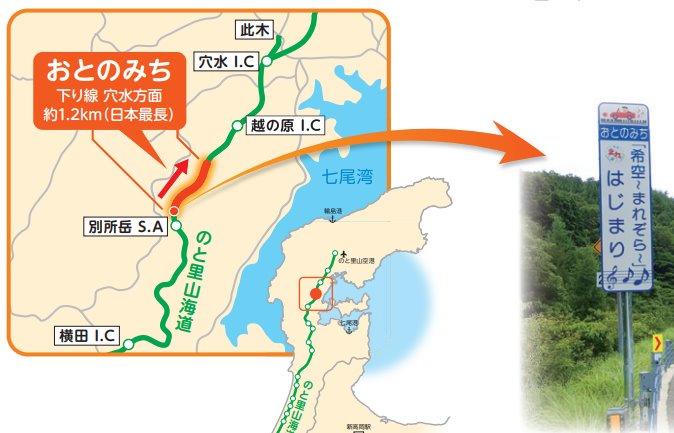 金沢から輪島へ向かう途中にあるメロディーロード!通称おとのみち!