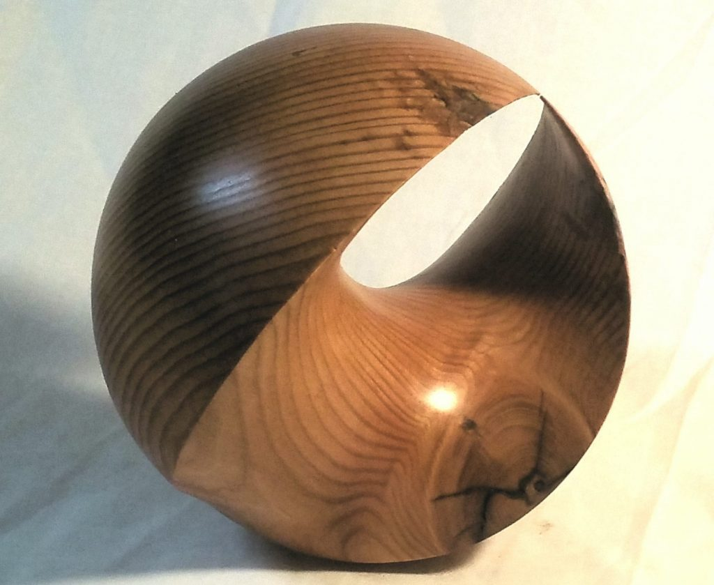 4D Sphere in Yew, 15 cms dia, also in bronze/stainless and other sizes