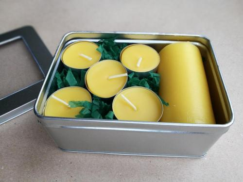 A range of beeswax candle and tealight gift boxes