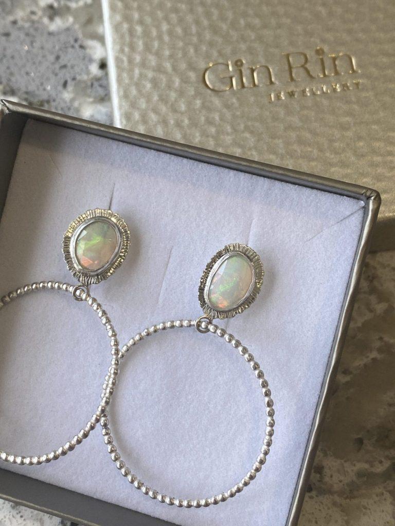 Bespoke Welo Opal hoop earrings