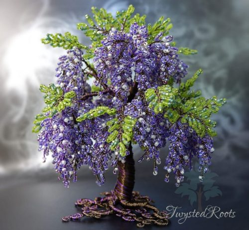 Purple Wisteria inspired bead and wire tree sculpture by Twysted Roots