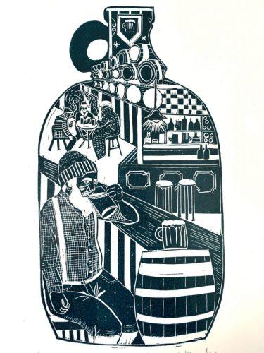 Drunken Sailor- Handcut Linoprint