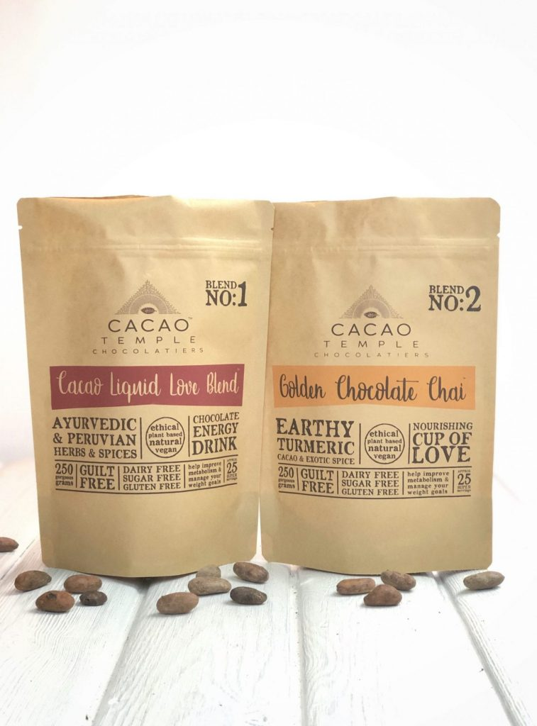 Cacao Liquid Love Blend & Golden Chocolate Chai. Super energising, immune boosting cacao blends.