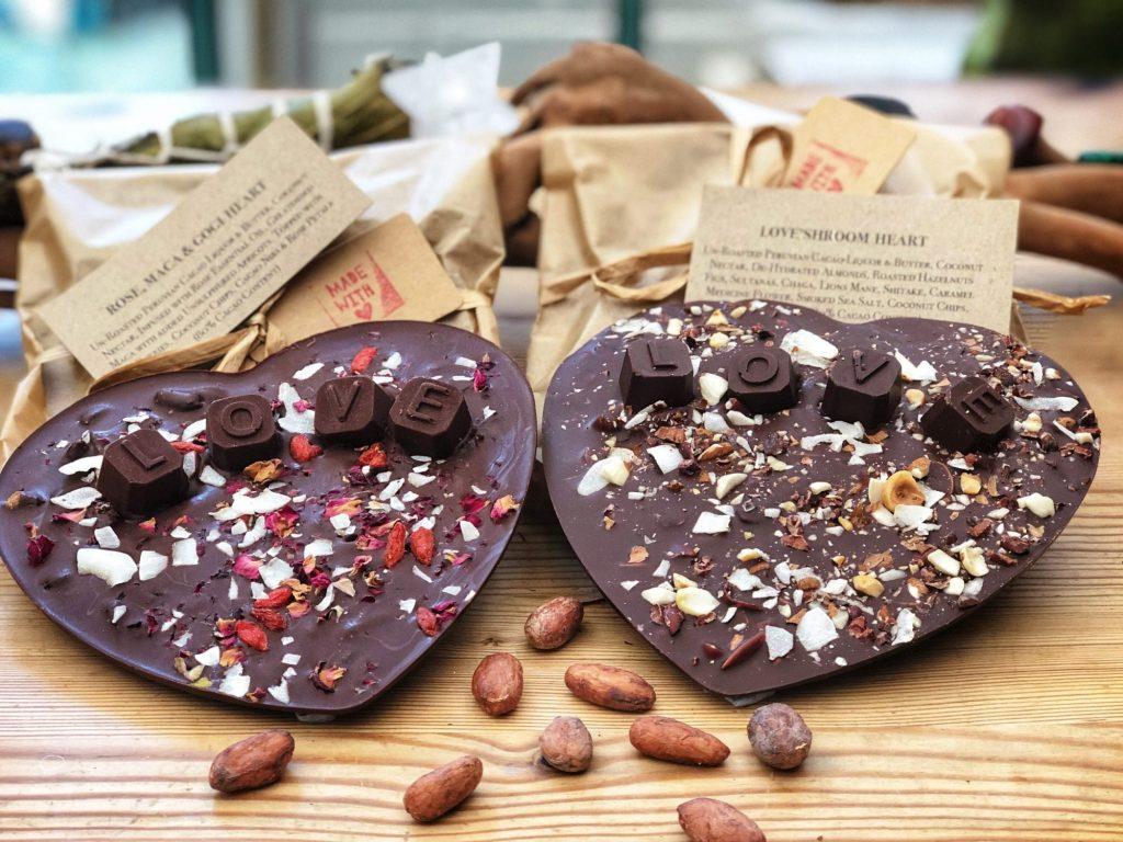 'LoveShroom' Nutty Salted Caramel & Rose, Maca & Goji Berry Raw Chocolate Hearts
