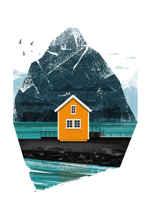 Orange Scandinavian cabin