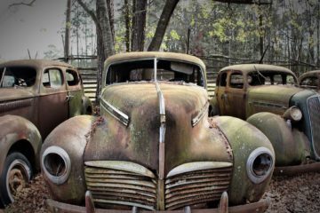 old and busted car