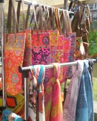 Bright colours, This stall had bags made from imported bright canvas.