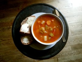 Chicken and vegetable soup for lunch