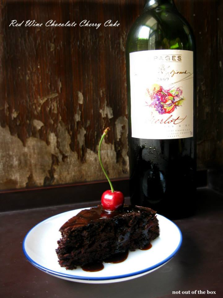 Red Wine Chocolate Cherry Cake Not Out Of The Box
