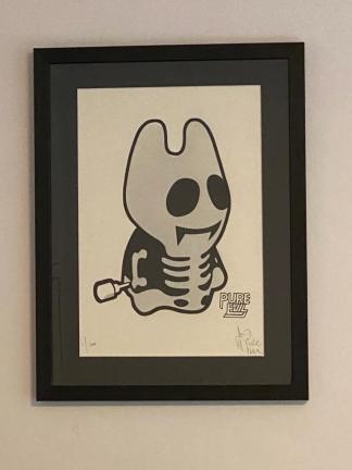 Pure Evil - Silver Minion framed street art print