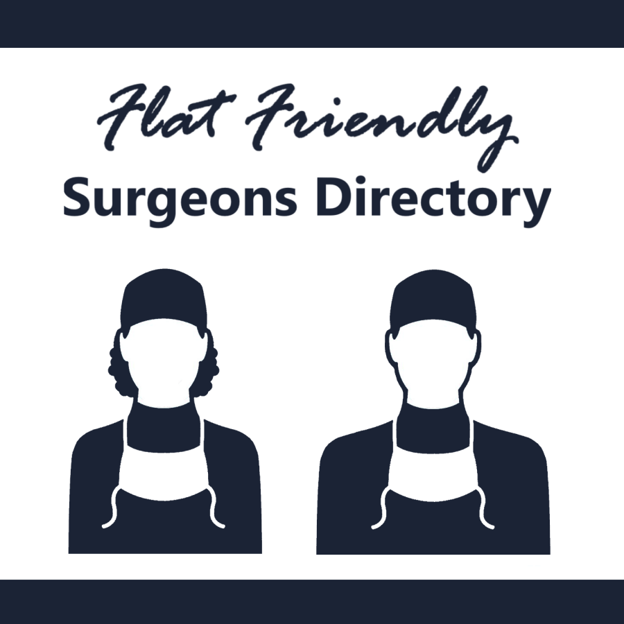 Infographic - Flat Friendly Surgeons Directory #notputtingonashirt #aestheticflatclosure
