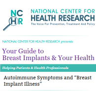 National Center for Health Research screenshot breast implants & your health explant resources