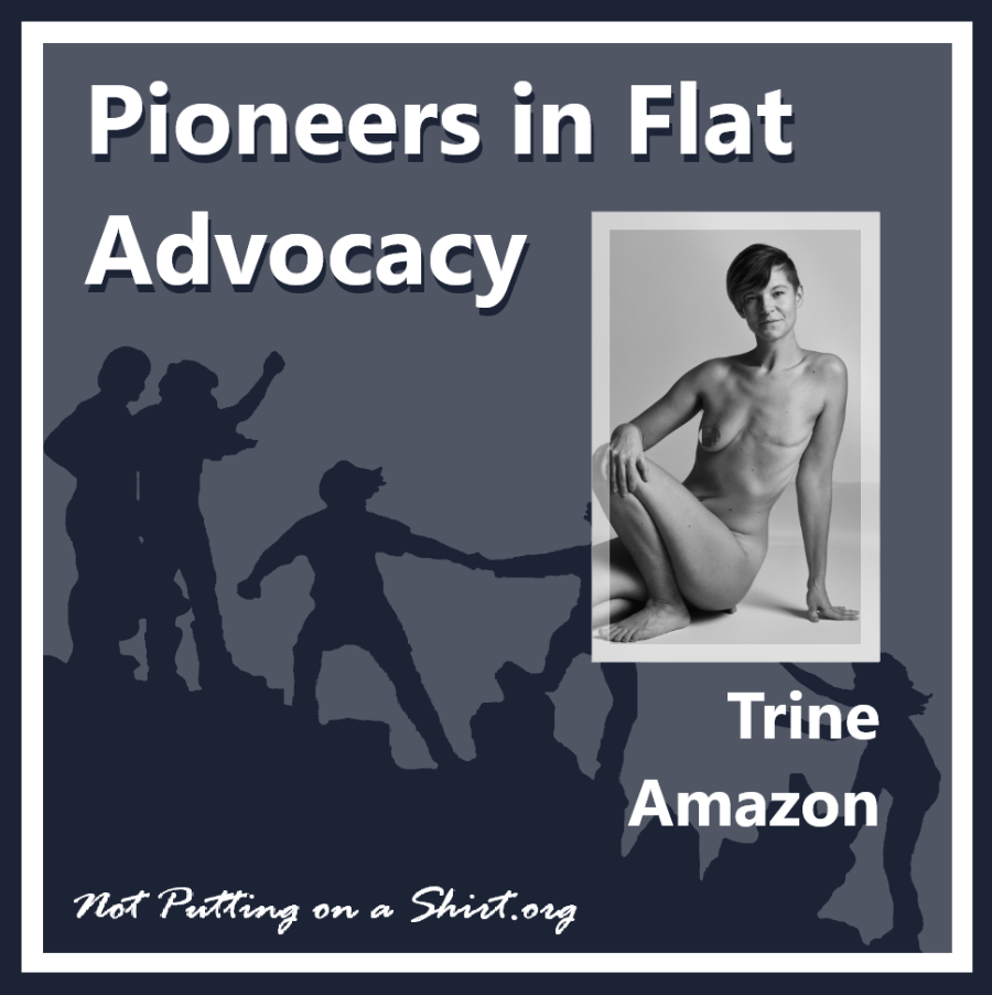Infographic of blog series Pioneers in Flat Advocacy - aesthetic flat closure public figures - artist and model Trine Amazon of Denmark