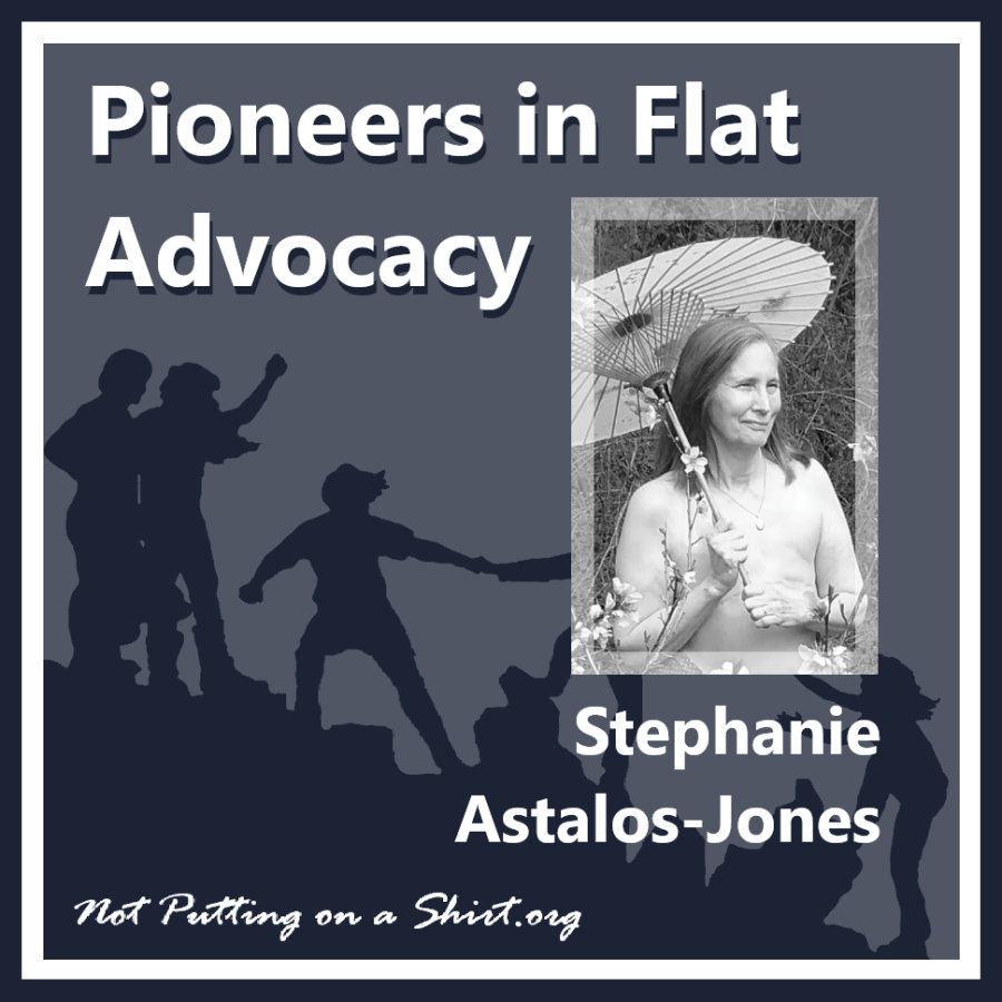 Infographic of blog series Pioneers in Flat Advocacy - aesthetic flat closure public figures - actor and Pysanky artist Stephanie Astalos-Jones of the Flat is Where It's At podcast