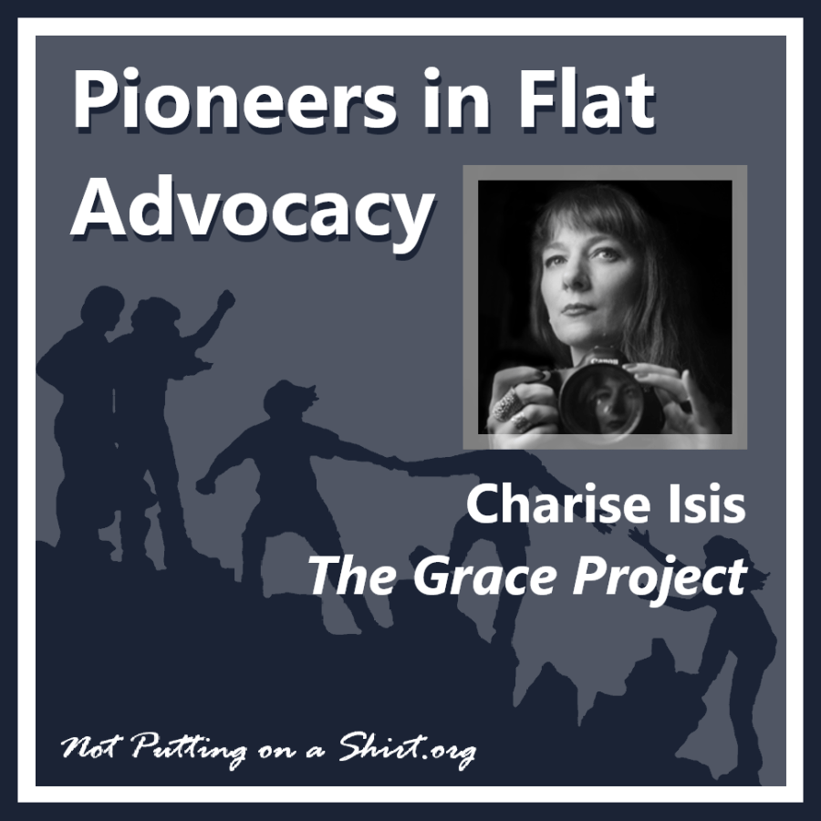 Infographic of blog series Pioneers in Flat Advocacy - aesthetic flat closure public figures - photographer Charise Isis of The Grace Project breast cancer photography nonprofit
