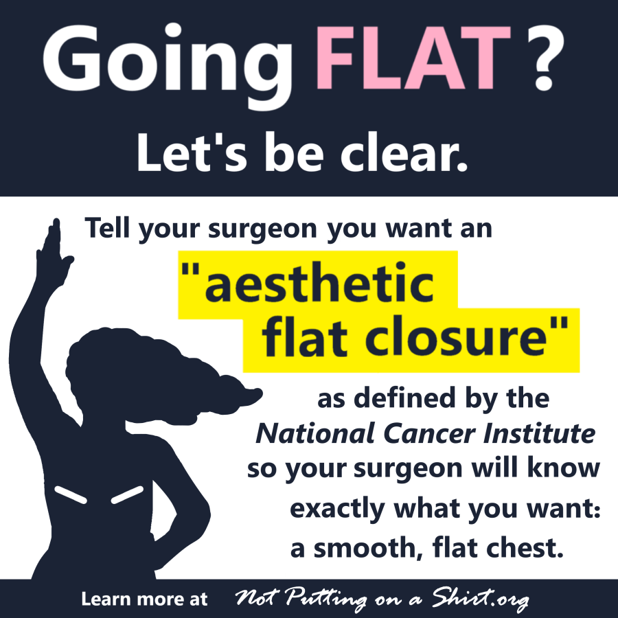 Aesthetic flat closure infographic NCI definition going flat after mastectomy clear language