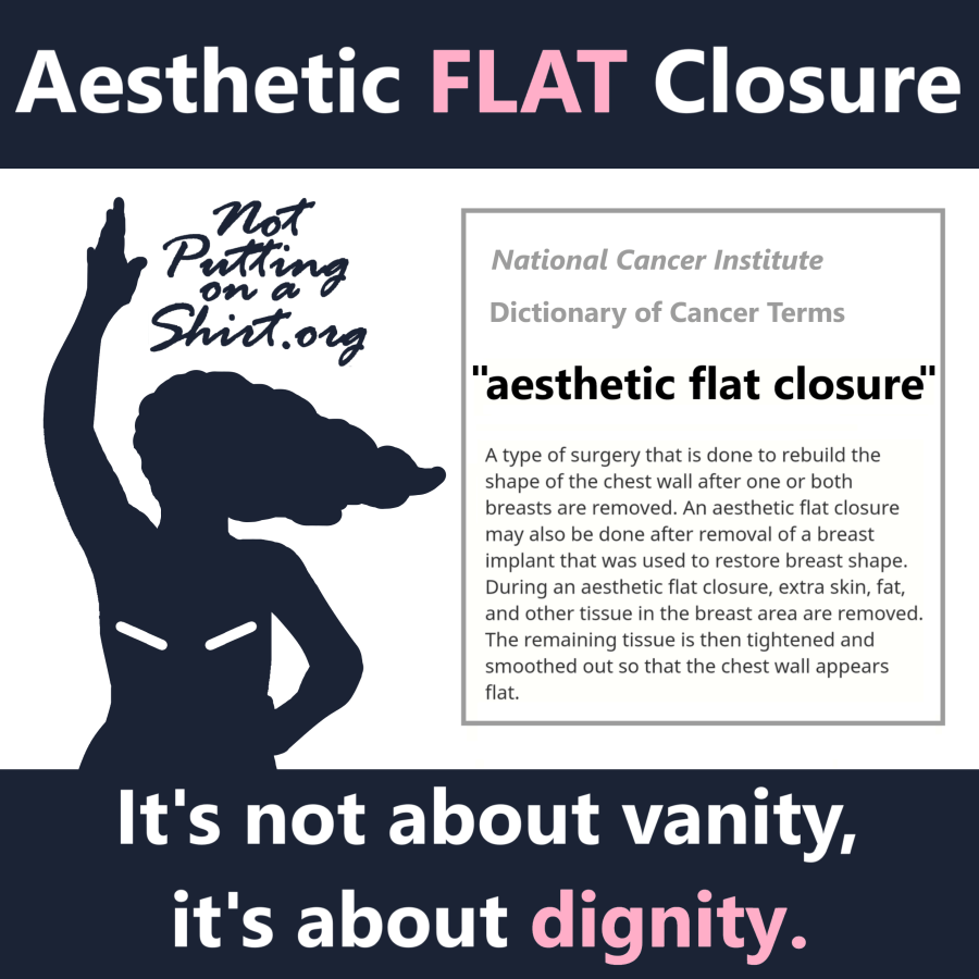 Aesthetic flat closure infographic NCI definition going flat after mastectomy clear language dignity