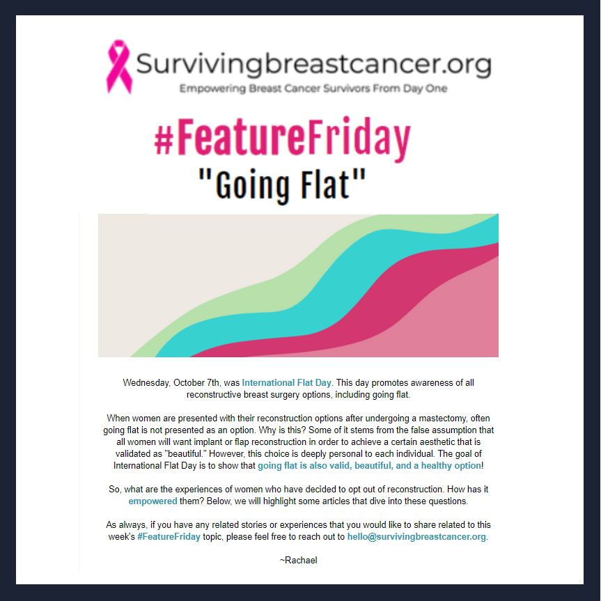 Going flat after mastectomy information - Surviving Breast Cancer Feature Friday