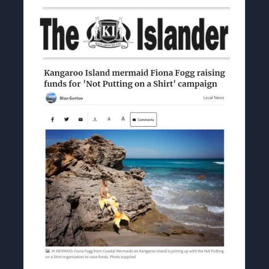Kangaroo Islander article on Coastal Mermaids fundraiser for aesthetic flat closure advocacy