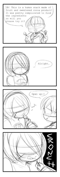 2B has a snack