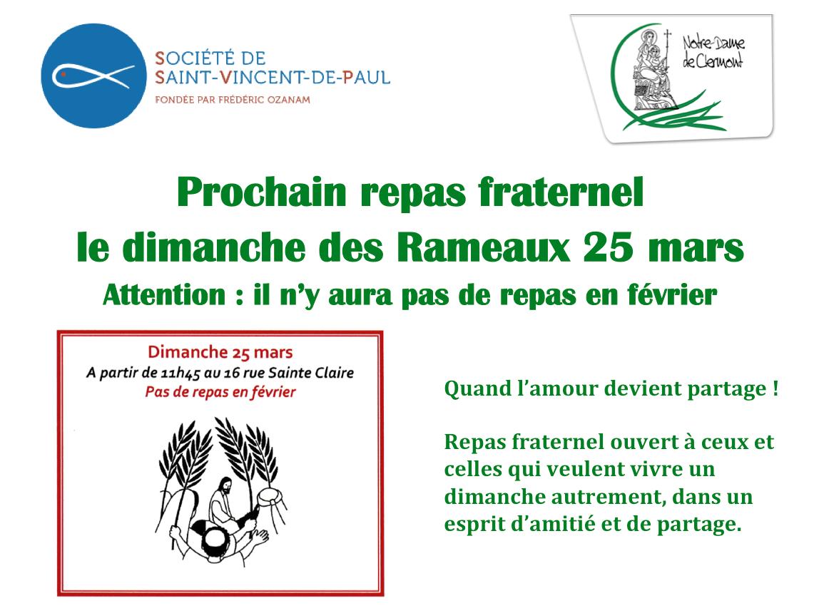 Dimanche des Rameaux 25 mars : repas fraternel proposé par la Conférence Saint-Vincent-de-Paul
