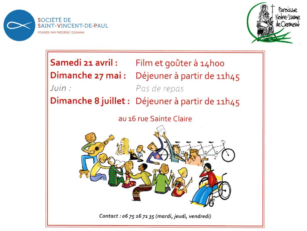 Le 27 mai : Repas fraternel proposé par la Conférence Saint-Vincent de Paul au 16 rue Sainte-Claire