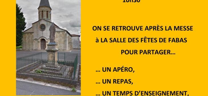 RENTRÉE PAROISSIALE ce DIMANCHE 19 SEPTEMBRE à 10h30 à L'ÉGLISE DE FABAS
