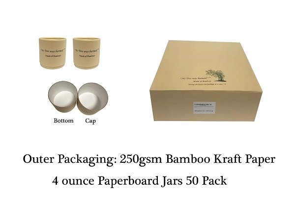 4 ounce Bamboo Paperboard Jars 50 Pack