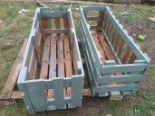top view of garden pallets made from wooden pallets painted green
