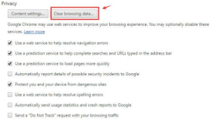 Google Chrome clear browsing data