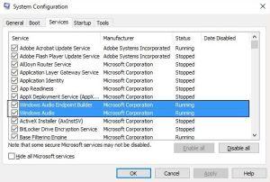 Windows 10 Audio Services Not Responding-MS CONFIG