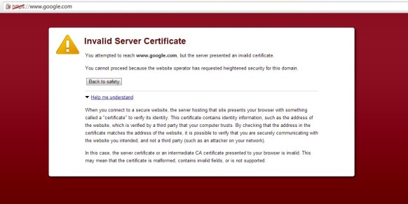 Google Chrome Certificate Error