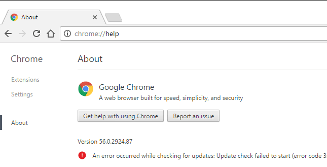 Fix Chrome update error