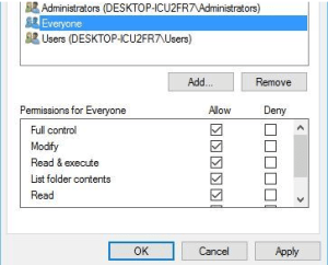 Edit security full control